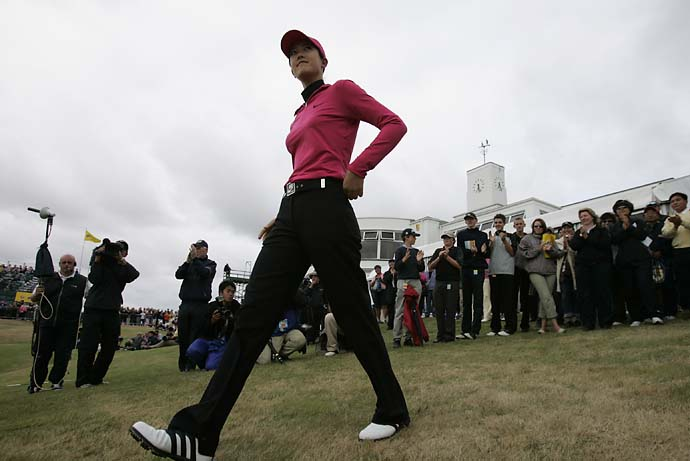 Michelle Wie walks on to 18th green to receive the Low Amateur Trophy at the 2005 Women's British Open at Royal Birkdale.
