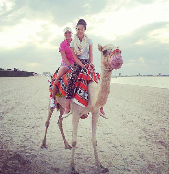 @themichellewie: With lexi on the camel! Poor Nadia...we must have been so heavy #dubai #trooper