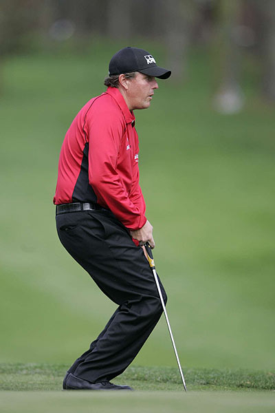 Phil Mickelson double bogeyed the par-4 10th hole. He finished his opening round at even par.