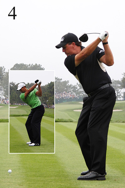 4. Here's where the trouble starts for Phil. Notice how Tiger keeps the clubhead in line with his left forearm. Phil swings the club across the line. Tiger fixed this problem in his swing a decade ago, but Phil continues to struggle with it.