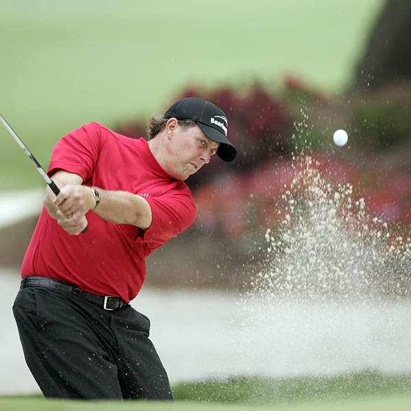 """Probably the biggest [par] was the 7th hole, which was my 16th. It was late in the day, late in the round, and I was on an elevated green, and was able to hit that to three feet and make par,"" Mickelson said."