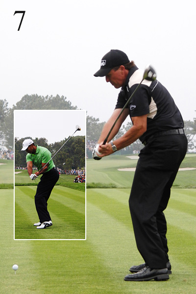 7. Tiger's clubhead is behind his body, enabling him to attack the ball from the inside. Phil's clubhead is in front. If Phil tries to hit the ball straight from this position, he'll add difficulty by introducing more compensations.