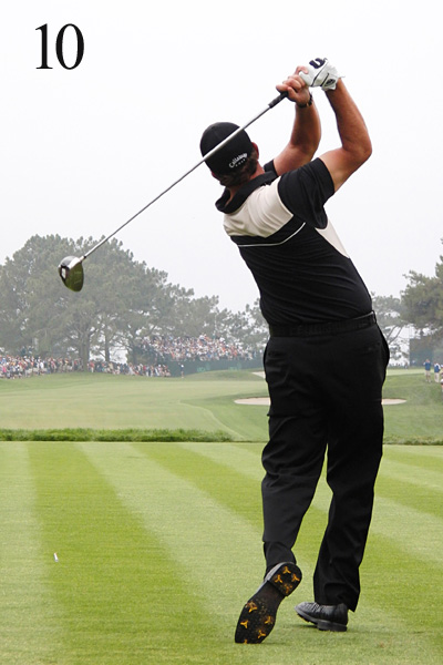 10. Phil leans to his left and has difficulty getting off his back foot. This is typical of a player who hangs back during impact and uses his hands to control the face. Only a player of his caliber can succeed with so many compensations.                                              More on Mickelson                       • Phil's career in photos                       • The Shop: Mickelson's clubs                       • Phil Mickelson homepage
