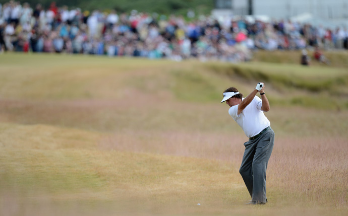 Phil Mickelson fired a bogey-free 66 Saturday to finish two strokes off the lead.