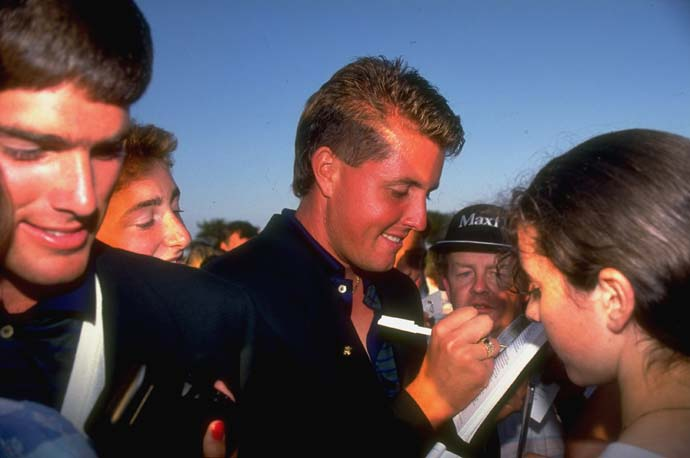 Phil Mickelson signs autographs at the 1991 Walker Cup. The U.S. side won the event that year and Mickelson made a clutch up and down on the 18th hole to win his final singles match.