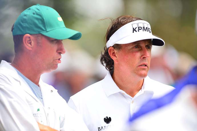 Phil Mickelson: D                       Cameron Morfit says:About the only thing Mickelson did right at this Masters was make the cut, which is a pretty hollow victory for a guy who has won the green jacket three times and is still, we think, a viable threat at the majors, especially this one. Mickelson never broke par after the first day; put up a 76 and a 77 on Friday and Saturday, respectively, to tie for 54th place; and beat Tianlang Guan, 14, by only three strokes. Not good.
