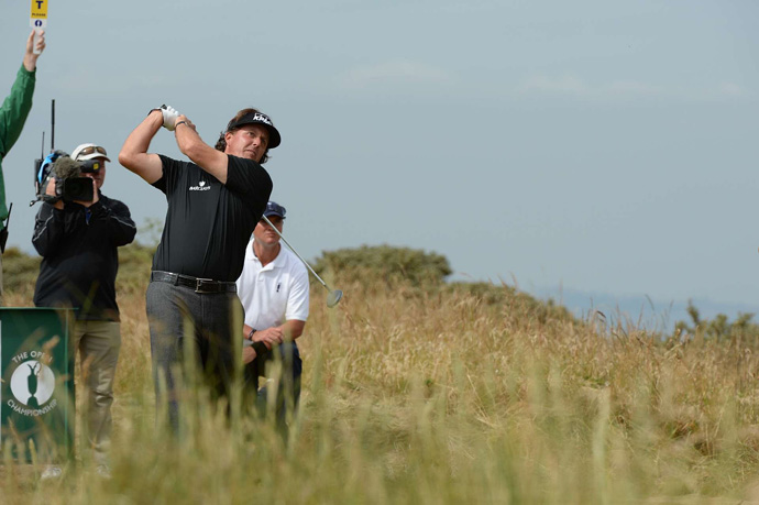 Phil Mickelson made four birdies and two bogeys for a two-under 69.