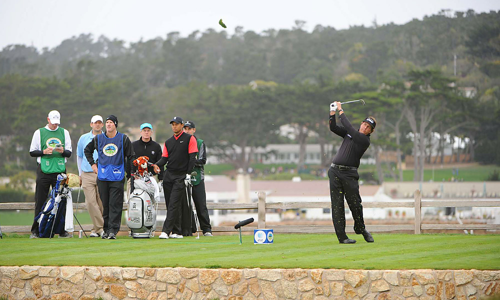Phil Mickelson's 64 on Sunday at Pebble Beach                           Mickelson's 2012 played out like much of his career, inspired brilliance that was sometimes marred by flabbergasting play. On Sunday at the Pebble Beach National Pro-Am, Phil fired a final-round 64 to win, beating playing partner Tiger Woods by 11 shots on Sunday.