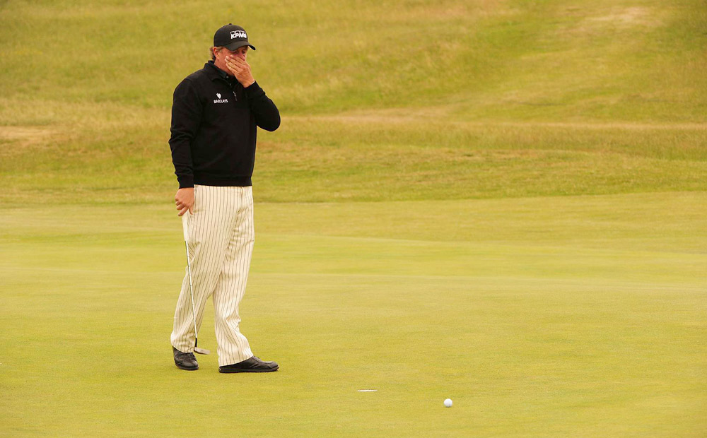 Phil Mickelson, British Open: Mickelson shot 30 on the front nine Sunday at Royal St. George's and briefly tied for the lead before his putter let him down. He lipped out a two-footer at the 11th and bogeyed four of his last eight holes to lose by three shots to Darren Clarke.