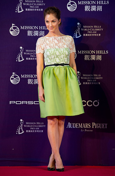 Actress Minka Kelly attended a red carpet event at the Mission Hills World Celebrity Pro-Am tournament at the Mission Hills golf resort in Haikou on the southern Chinese island of Hainan.