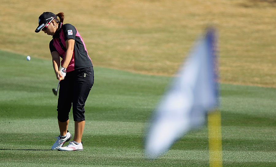 Mika Miyazato is tied for second after a bogey-free 67.