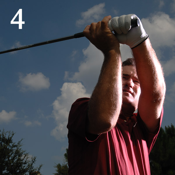 4. Check Your Swing                             Swing to the top of your                             backswing, stop, and look over                             your right shoulder to check                             your position. You may notice                             that the club is laid off, or that                             the clubface is wide open.                             You'll want to know about                             these things before you tee off                             so you won't have to search                             for clues or experiment with                             dangerous swing changes.