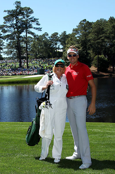 Ian Poulter poses with his mother Theresa during the Par 3 Contest prior to the 2011 Masters.