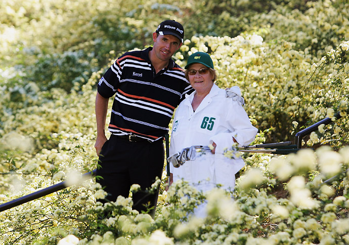 Padraig Harrington with his mother, Breda, who caddied for him during the Par 3 contest prior to the Masters at the Augusta National Golf Club on April 5, 2006, in Augusta, Ga.