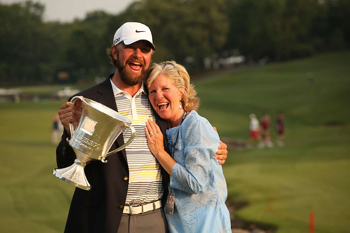 Lucas Glover celebrates with his mother, Hershey, after winning the Wells Fargo Championship at Quail Hollow on May 8, 2011.
