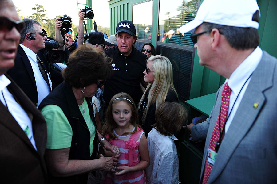 Phil Mickelson with his family after winning the 2010 Masters. His mother, Mary, and wife, Amy, have both battled breast cancer.