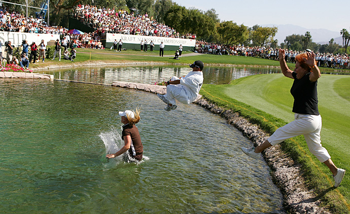 Not only did 2007 champ Morgan Pressel jump into the pond with caddie Jon Yarbrough, but her grandmother, Evelyn Krickstein, also joined in the fun.