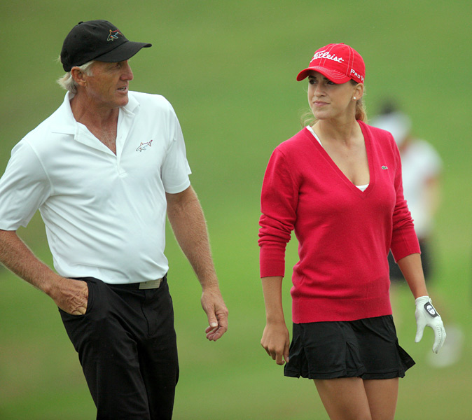 Mozo with Greg Norman at Mission Hills. Check out video instruction tips featuring Mozo here.
