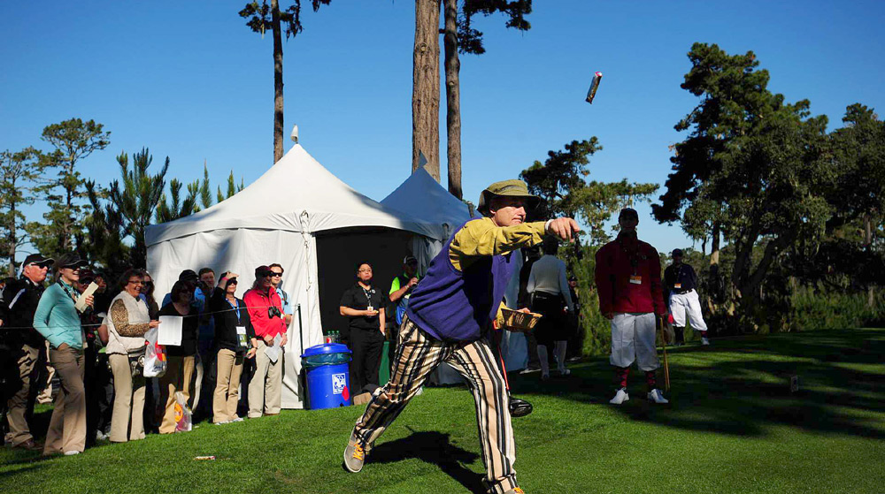 Bill Murray threw candy bars to the fans during the Pebble Beach pro-am.