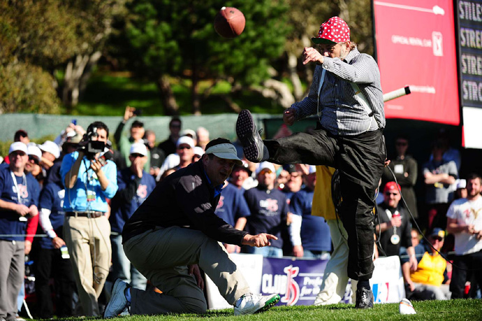 Bill Murray kicked a football to the fans in 2013.