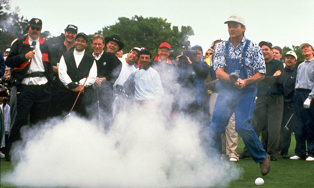 In 1996, Murray played a prank on his fellow celebrities, including Bryant Gumbel, Randy Quaid, James Woods, Glenn Campbell and Clint Eastwood (far right).