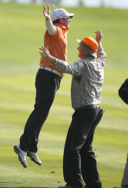 Points just happened to be one of Murray's biggest fans, and the two put on a show throughout the week, including this chest-bump when Points holed out for eagle in the final round at the difficult 14th hole.