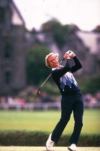 This is one of those iconic Nicklaus photos that everyone remembers, swinging a wood in that vivid blue argyle sweater on the way to winning the 1978 Open at St. Andrews with a score of 281.