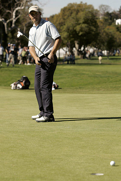 After holding the lead during the first two rounds, Padraig Harrington missed this birdie putt on the first hole on Saturday. It was the beginning of his demise, and he finished in seventh place.