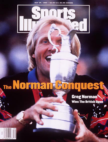 Greg Norman wins the 1993 British Open at Royal St George's Golf Club.