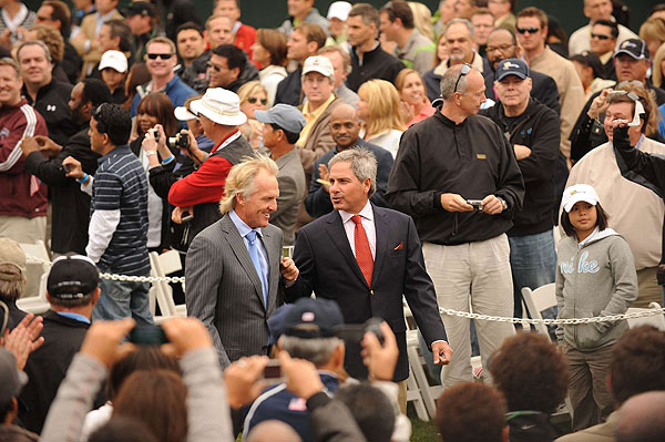 entered the opening ceremonies for the 2009 Presidents Cup together on Wednesday night.