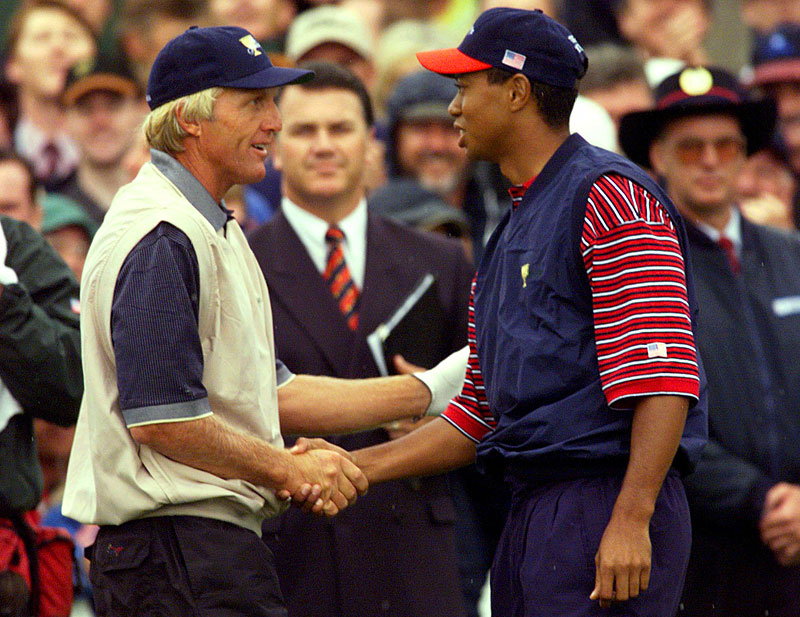 Norman, who was No. 1 for more than six years, faced the new No. 1, Tiger Woods, at the 1998 Presidents Cup at Royal Melbourne. The International team won the event, but Woods beat Norman, 1 up.