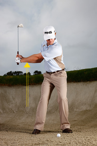 SITUATION 3                           The Must-Save Bunker Play                           In the sand, a little aggression goes a long way                                                      When I Needed It                                                      During my singles match against Paul Casey at the Ryder Cup, I had a really tough bunker shot with a very small landing area. Bunker shots are the easiest shots to hit under pressure because you can be aggressive with them. I was aggressive, and I made an important save to halve the hole.                                                      How You Can Do It                                                      When you're really feeling pressure, your arms get tight and you slow down. That's why a bunker shot is nice in pressure situations because you can be a little more aggressive through it. Try to keep your club and arms connected to your chest and blast through the sand using your turn. But be careful — don't let the club go faster than your hands. Stay aggressive with your turn so you don't get tight and slow down.