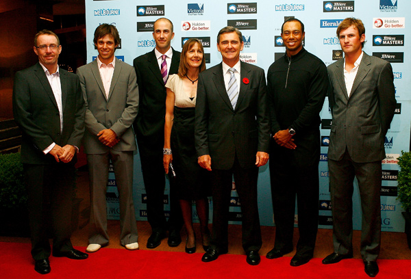 Woods joined some of his fellow pros Tuesday night at the Australian Masters Gala Dinner at Crown Casino. (From left: Rod Pampling, Aaron Baddeley, Geoff Ogilvy, Rosemary McKenzie, wife of John Brumby, Brumby, the Premier of Victoria, Woods and Michael Sim.)