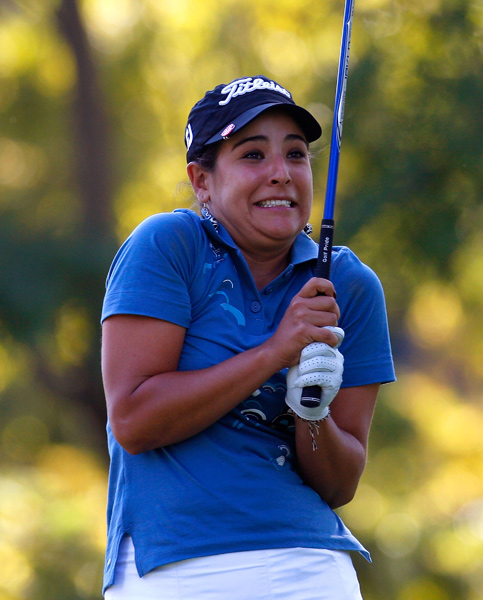 Uribe made a par on 17, even though her expression might tell a different story.