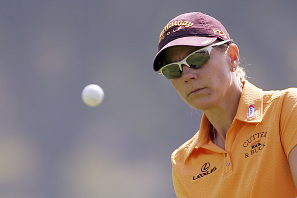 Annika Sorenstam remained in contention after an even-par 72.