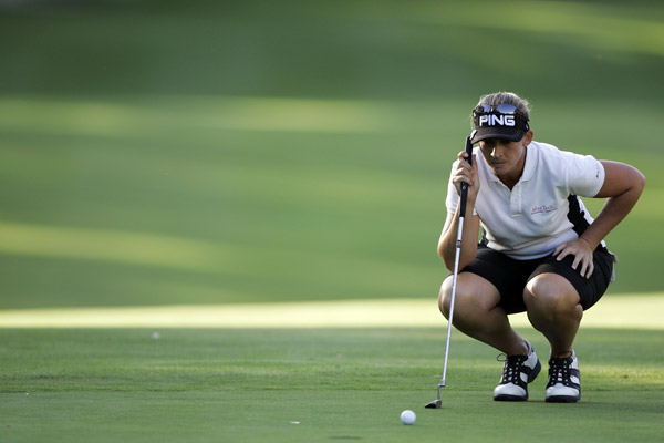 Angela Stanford leads Sorenstam by one after an even par-72.