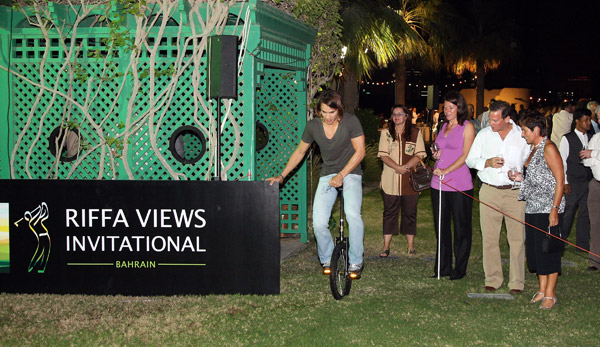 Villegas tried to ride a unicycle during a party held at the Ritz Carlton Hotel.
