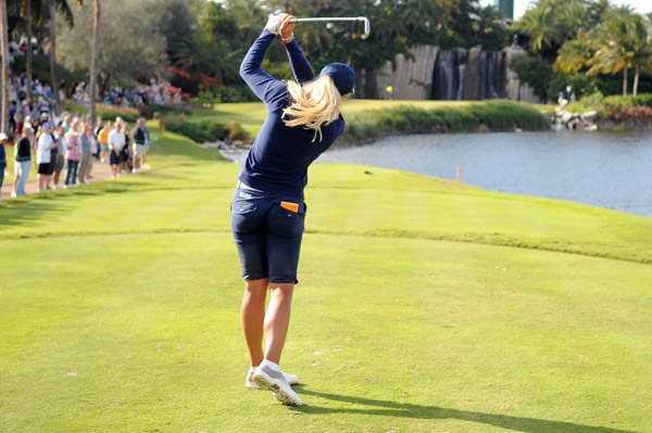 Suzann Pettersen made eight birdies, and she recovered from a triple bogey on No. 4 to qualify.