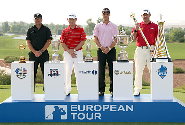 From left to right: U.S. Open champion Graeme McDowell, British Open champion Louis Oosthuizen, PGA champion Martin Kaymer, and 2009 European money title winner Lee Westwood.
