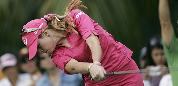 Paula Creamer, who spent the night at a hospital because of an inflamed abdominal wall, finished at two over par, in third place.