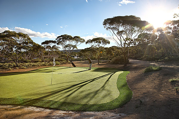 Due to the sweltering climate, little grass grows in Nullarbor. All of the tee boxes are Astroturf, as well as some of the greens.