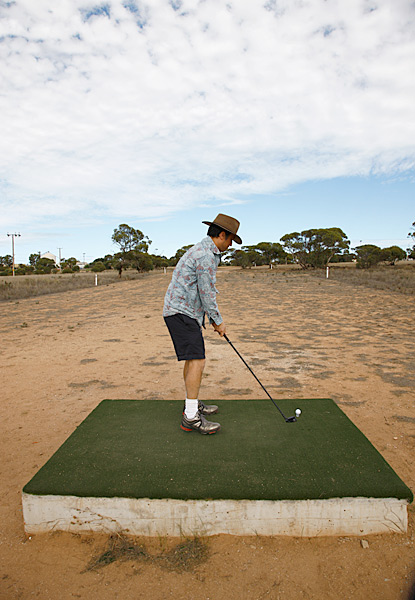 Nullarbor Golf Links' 18 holes are spread across 850 miles of rugged outback terrain in Southwestern Australia.
