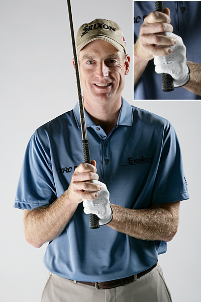 "Double Overlap: Jim Furyk                                                      What It Does: Quiets overall hand action. It's a great match for Furyk's swing because his signature loop puts him in danger of over-curving the ball if his hands work too hard or fast.                           How to Do It: Wrap the last two fingers of your right hand over the last two fingers on your left hand.                           You know you need it if:  Your swing is too ""handsy"" or you tend to throw the club at the ball. It requires stronger hands and reduces distance, but it's definitely a fairway-finding grip."