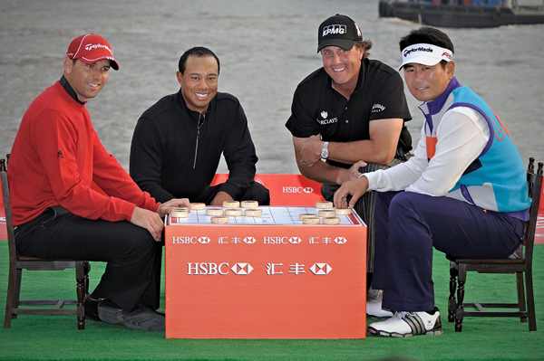 Sergio Garcia and Y.E. Yang joined Woods and Mickelson for a kick-off event in Shanghai.