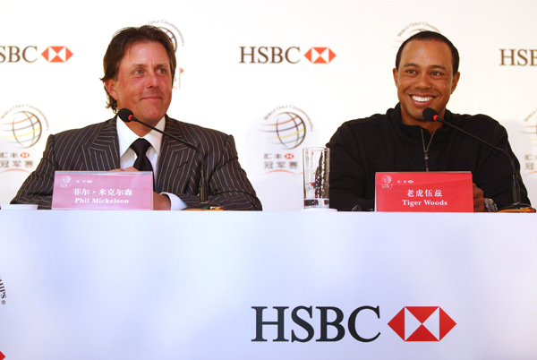 This is the first time Woods and Mickelson have been in the same tournament in Asia.