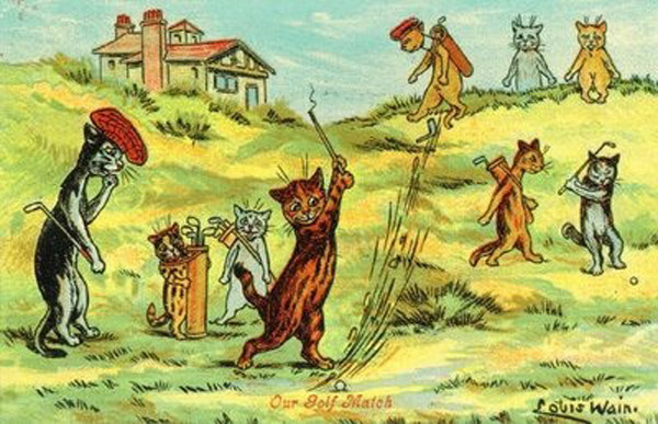 """Cats playing golf"" by Louis Wain                           From Victorian artist Louis Wain's collection of cat and kitten postcards. 24"" x 18"" prints available at Art.com. for $49.99."