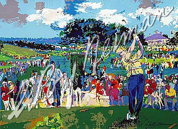 """Augusta golf"" by LeRoy Nieman                       1990; Poster serigraph. After visiting Augusta to record in oil his own special perspective on this year's Masters, LeRoy Neiman stated unequivocally: 'The Augusta National is the most beautiful golf course I've ever seen.' This magnificent work confirms his observation... Jack Nicklaus follows through on the tenth tee while Nick Faldo watches, flanked by Jack's son, Jackie, holding his clubs."" Prints available from $275.                       -- LeRoyNeiman.com"