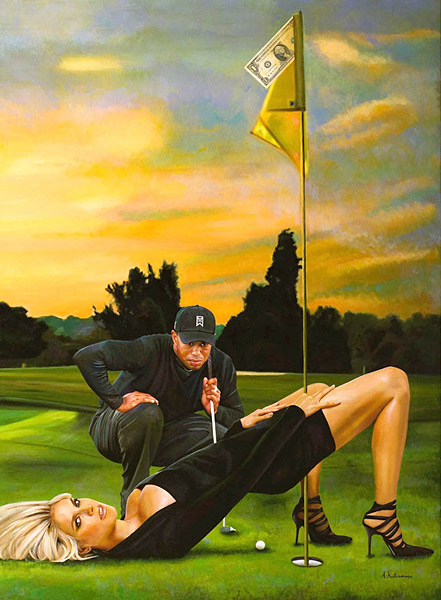 """Tiger making the hole"" by Tos Kostermans                       Size 100 cm x 130 cm; Acrylic on canvas; Price: 5750 Euro - 8000 US Dollar; Limited edition litho on paper or on canvas is available; Prices starting from 650 Euro / 900 US Dollar (contact the artist at toskostermans@gmail.com).                       Follow the artist on Twitter at @ArtofTos and see more paintings here."