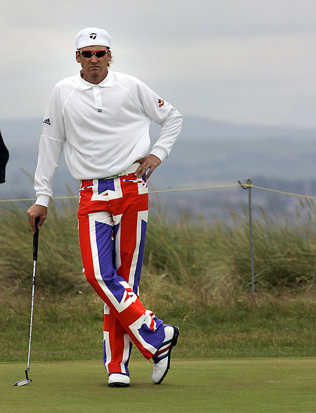 8. No one in pro golf is more serious about clothes than Ian Poulter. At the 2004 British Open he wore Union Jack trousers. That same year he wore stars-and-stripes pants at the PGA Championship. He sported an Arsenal football jersey during the third round of the '06 Abu Dhabi Golf Championship in Dubai. At this year's Masters, he wore green trousers and a white fedora. Poulter has started his own clothing line to bring his brash style to the world.