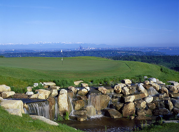 No. 6. Seattle, Wash.                       Population: 3,225,464                       Median home price: $380,200                       Number of public courses: 62                       Median green fee: $45                                              THE GOLF: Fun fact: Seattle's iconic, 605-foot-high Space Needle was designed to look like a tee. OK, we made that up, but given the area's golf goods, it could be true. Two greats are Washington National and the Coal Creek course at the Golf Club at Newcastle. The recent debut of the tough-but-fun Chambers Bay, a Robert Trent Jones Jr. design near the Puget Sound, helps make the home of Starbucks good to the last (penalty) drop.                                              THE REST: While often cloudy, Seattle is actually drier than most big cities, averaging four inches less rain per year than New York. Sunny or gray, the Emerald City is a looker, from the Olympic Mountains to the waters of the Puget Sound. Another welcome site is Pike Place, the oldest farmer's market in the country, which offers fresh produce, fishmongers and even antiques.                                              You can see forever — or at least all the way to downtown Seattle — from the 17th green on the Coal Creek course.